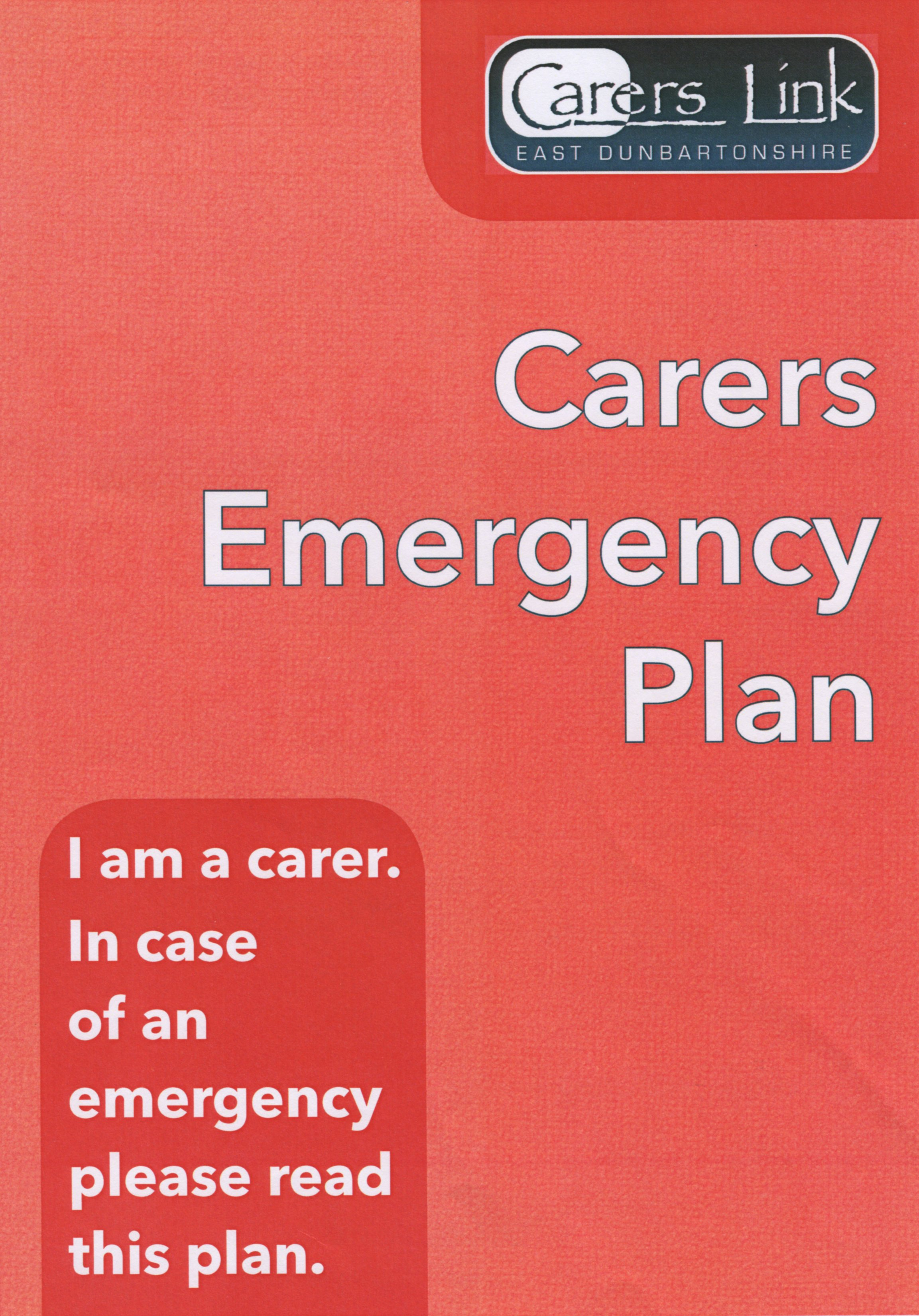 Cover of Carers Emergency Plan