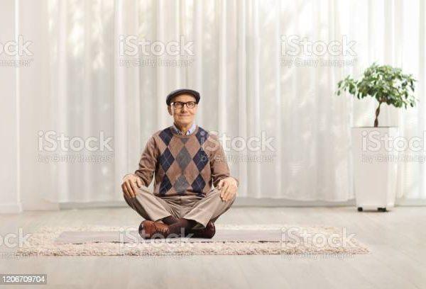 Man sitting cross legged
